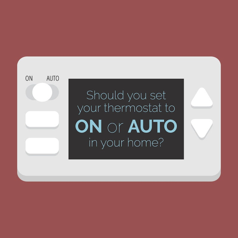Video image explaining the different between the ON and AUTO settings on a home's thermostat.