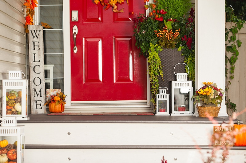 red front door with fall decorations, Fall HVAC Maintenance Checklist